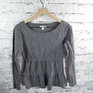 Garnet Hill Gray Stretch Lace Tiered Top XS